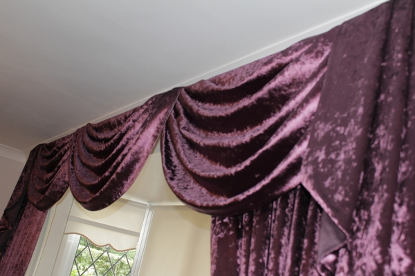 Velvet Curtain swags & Tails
